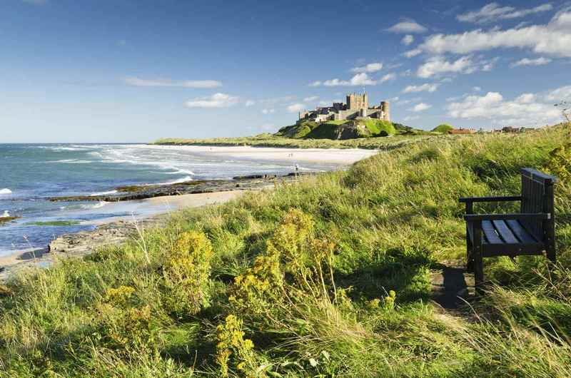 Bamburgh Castle taken here from the north dates back to the 6/7th century